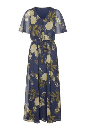 Robe longue fleurie en voile col V et ceinture à la taille LUCCA Vero Moda