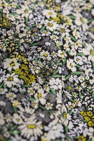 Robe fleurie mi-longue en voile col cache-cœur manches 3/4 Garcia