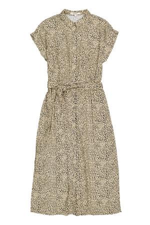 Robe fluide mi-longue boutonnée imprimé léopard avec ceinture Garcia