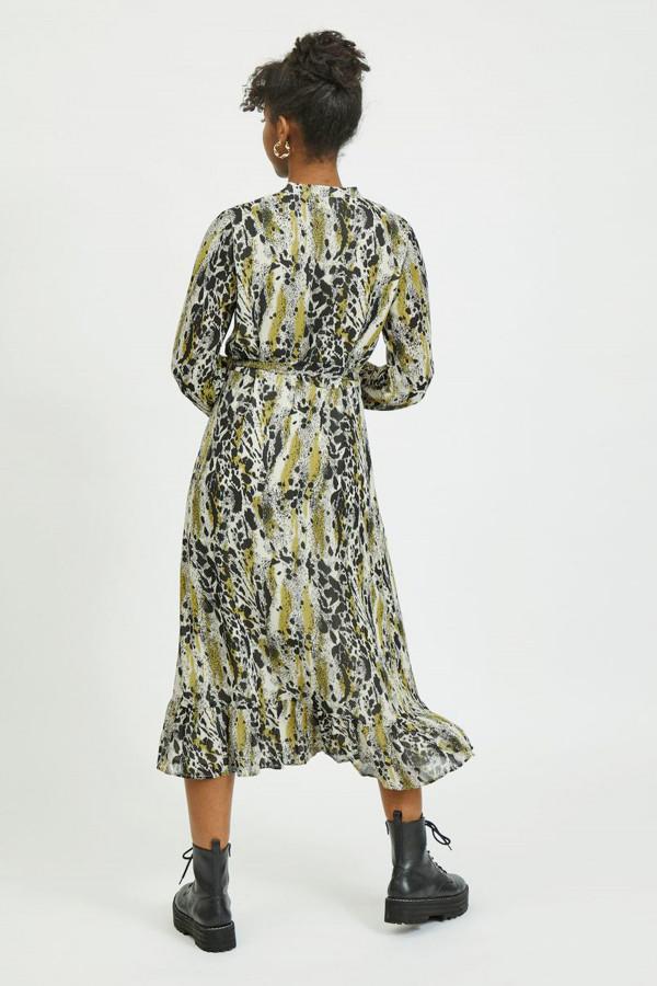 Robe mi-longue imprimé animal col V avec ceinture JEMO Vila