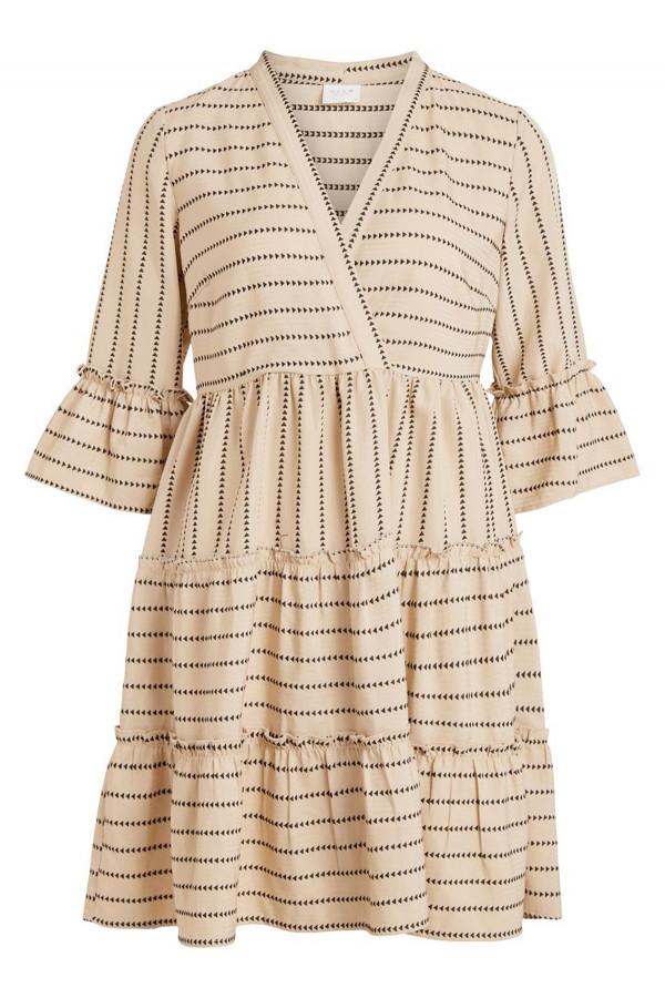 Robe courte imprimée minimaliste avec volants manches 3/4 ETNA Vila