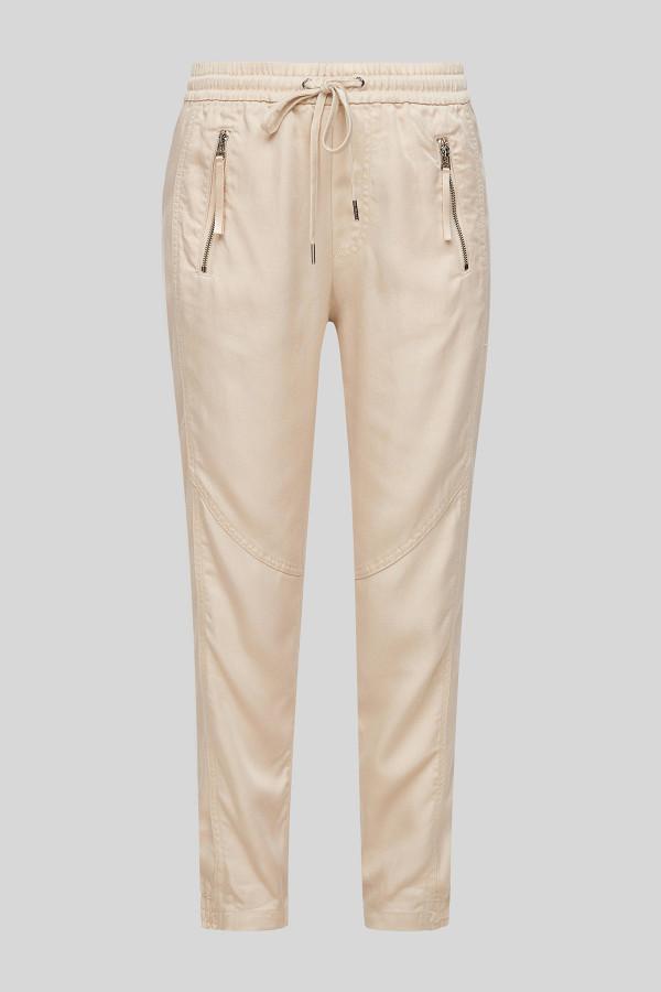 Pantalon uni avec poches devant zippée taille élastiquée S.Oliver