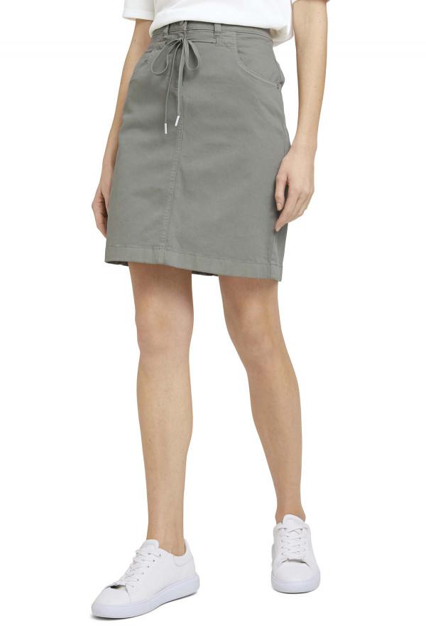 Jupe courte unie avec liens à nouer devant modèle 5 poches Tom Tailor