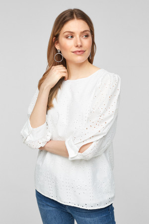 Blouse unie en broderie anglaise manches 3/4 S.Oliver
