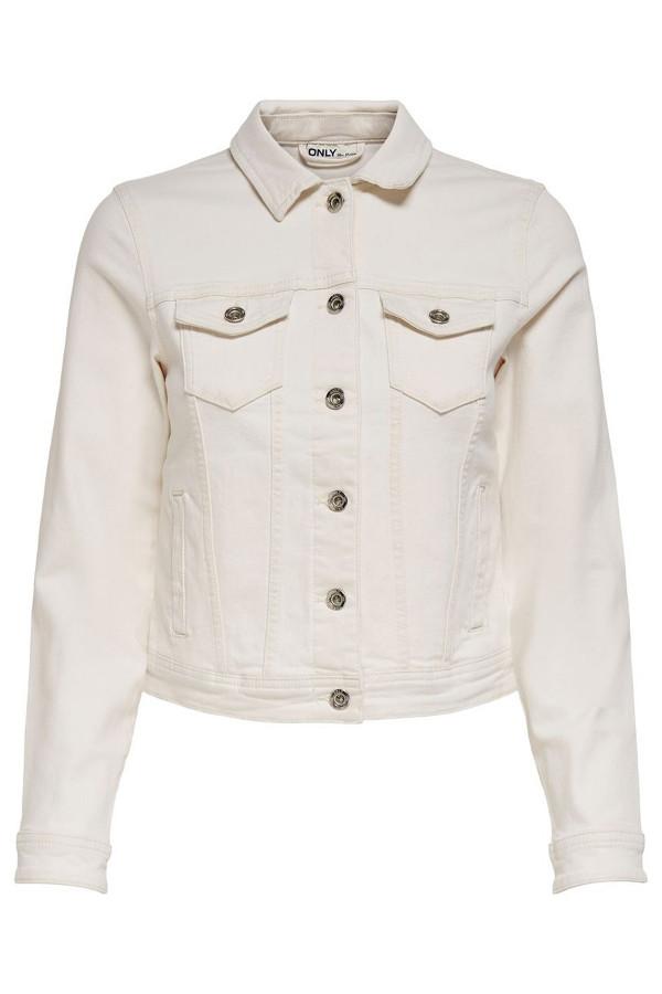 Veste unie en jean avec poches en coton stretch TIA LIFE Only