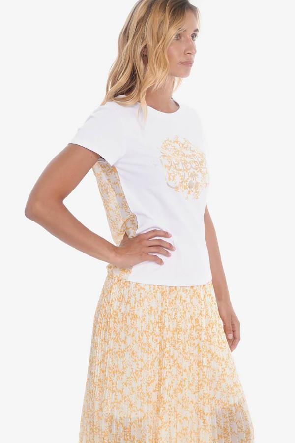 T-shirt bi-matière avec logo devant et fleuri au dos Le Temps des Cerises