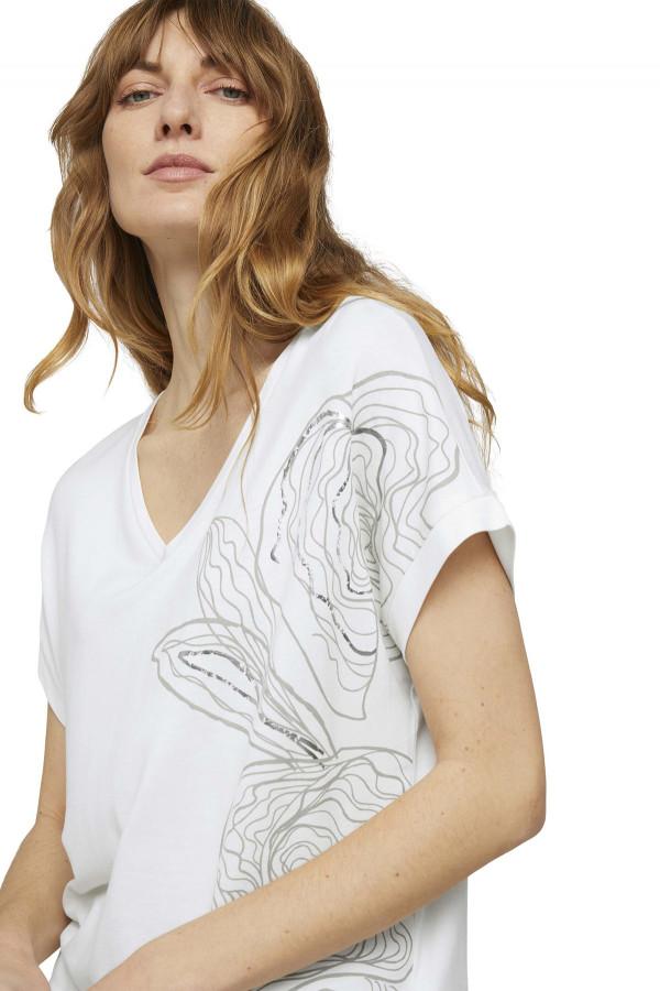 T-shirt ample col V avec impression devant Tom Tailor