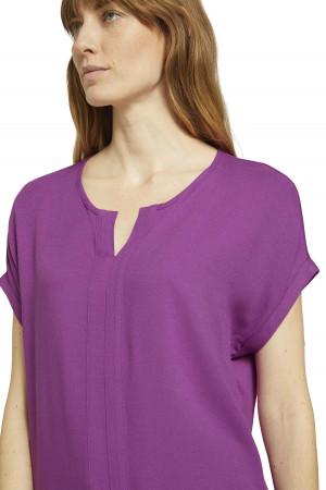 T-shirt uni bi-matière manches courtes col V Tom Tailor