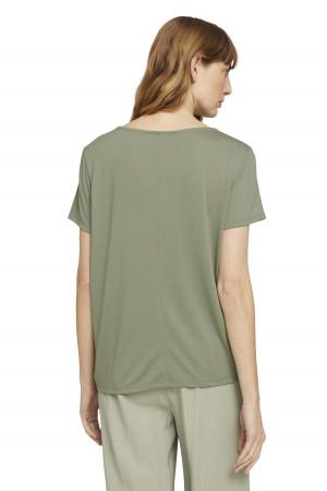T-shirt uni manches courtes avec noeud dans le bas Tom Tailor