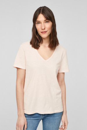 T-shirt uni col V en coton flammé S.Oliver