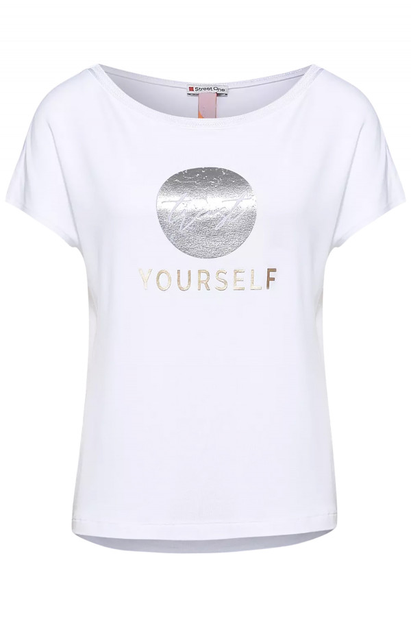 T-shirt en fine maille avec impression devant Street One