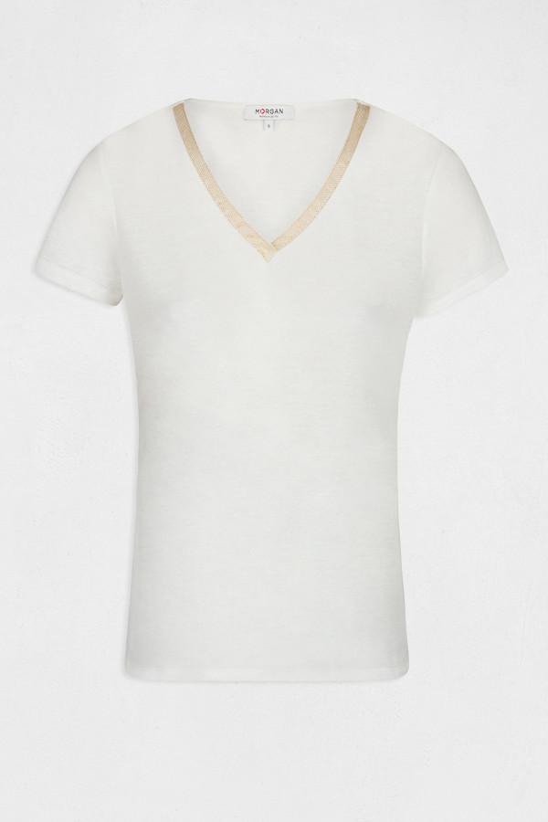 T-shirt flammé uni col V avec lurex DORE Morgan