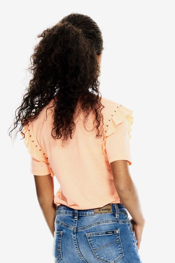 T-shirt en coton flammée avec clous décoratifs Garcia