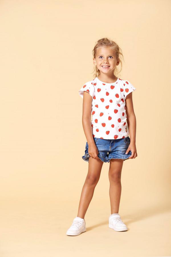 T-shirt fraises imprimées sur l'ensemble en coton stretch Jubel