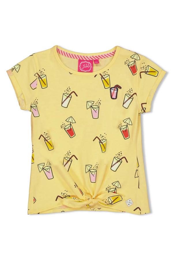 T-shirt en coton stretch noeud dans le bas imprimé sur l'ensemble Jubel