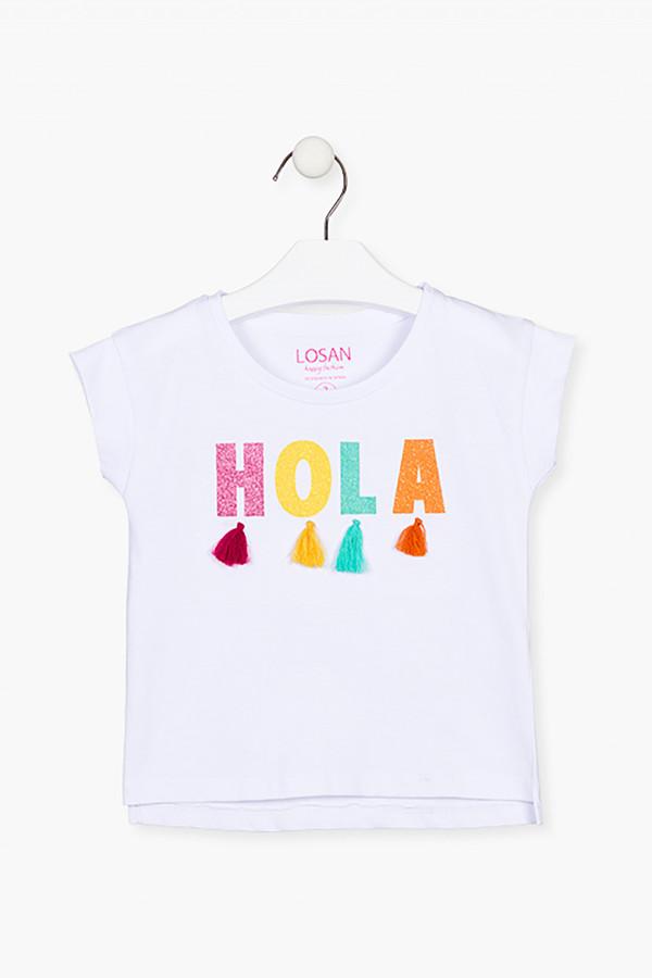 T-shirt en coton imprimé à l'avant avec pompons Losan