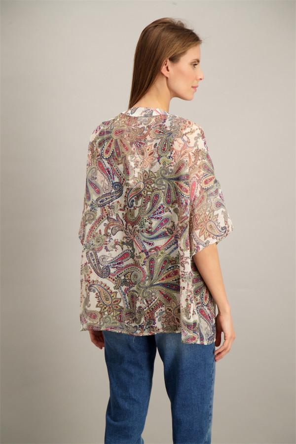 Kimono imprimé cachemire en voile manches 3/4 Vila