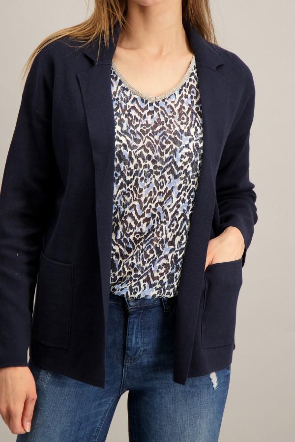 Cardigan uni en fine maille modèle ouvert avec poches Tom Tailor