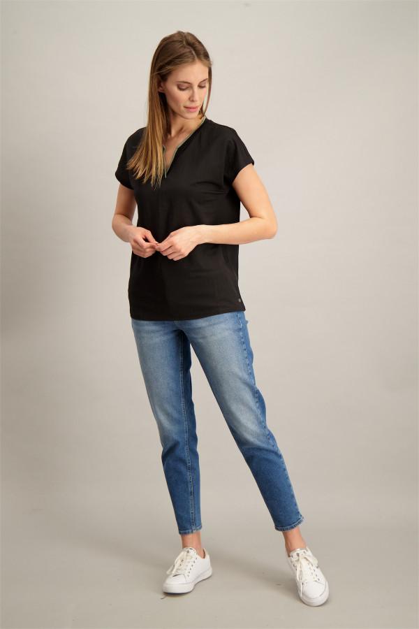 T-shirt uni ample avec bord contrastant au col Garcia