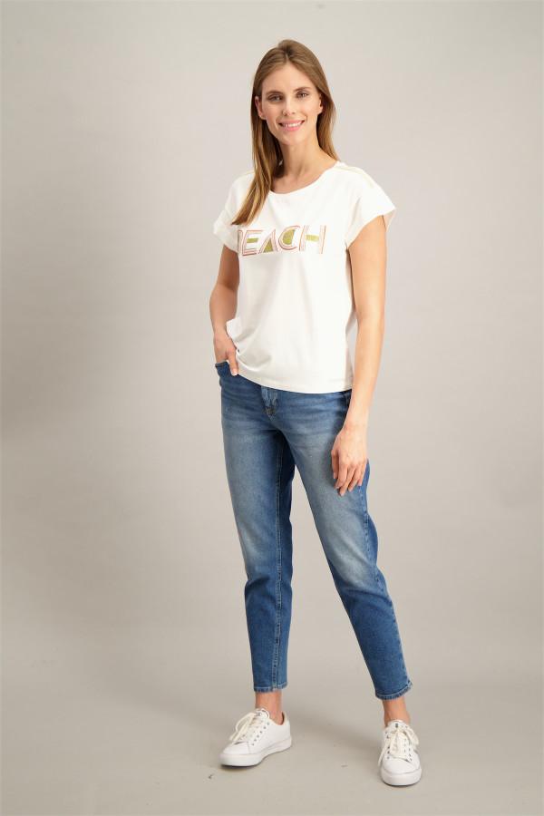 T-shirt imprimé à l'avant strass devant et aux épaules SHANTI Kocca