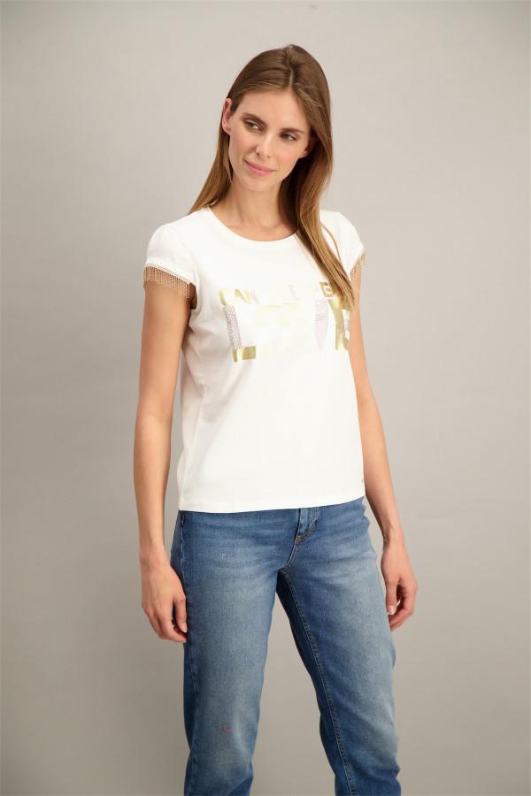 T-shirt loose imprimé devant strass aux manches ZENA Kocca