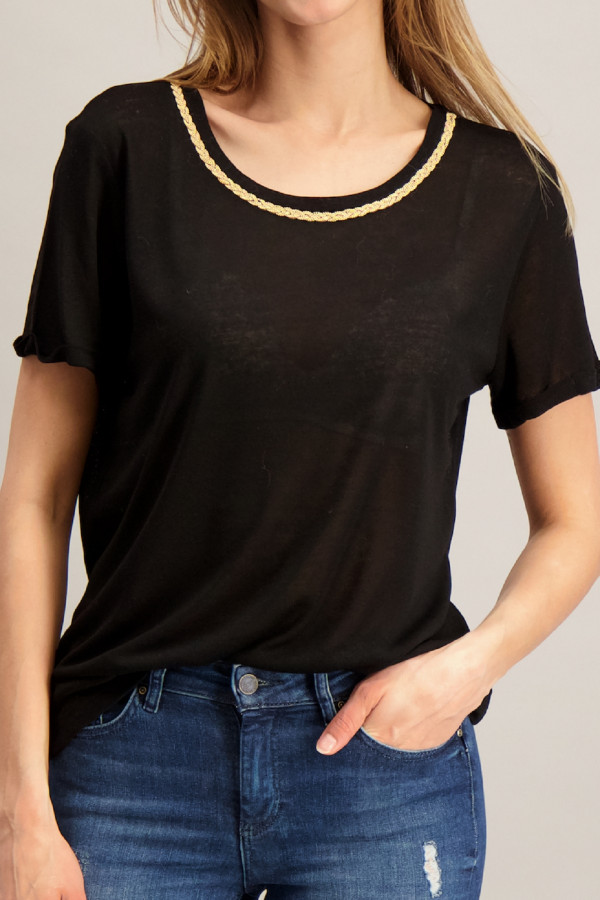 T-shirt en fine maille perles tressées au col PRIYA Kocca