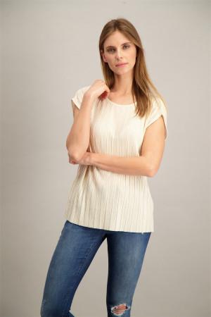 T-shirt plissé uni manches courtes Soyaconcept