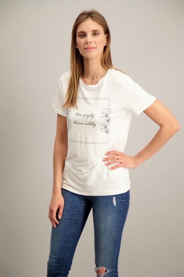 T-shirt uni stretch avec impression devant Soyaconcept