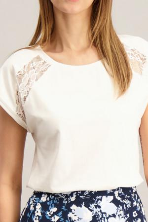 T-shirt uni avec dentelle aux épaules Soyaconcept