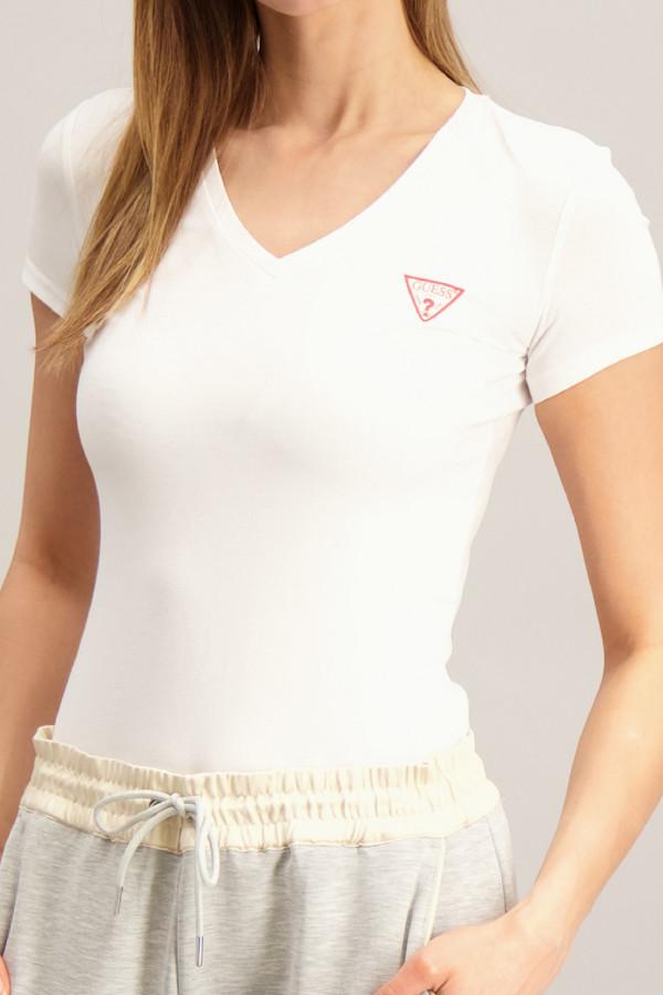 T-shirt uni avec impression poitrine en coton stretch Guess