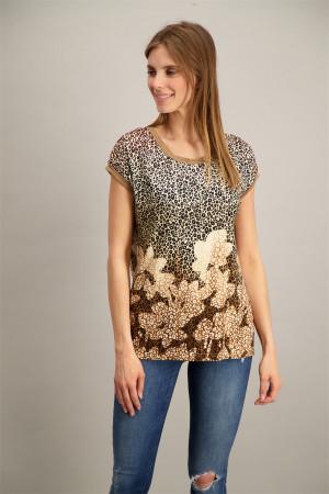 T-shirt imprimé léopard avec bords en lurex Geisha