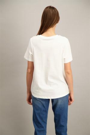 T-shirt uni avec impression et strass devant en coton Cecil