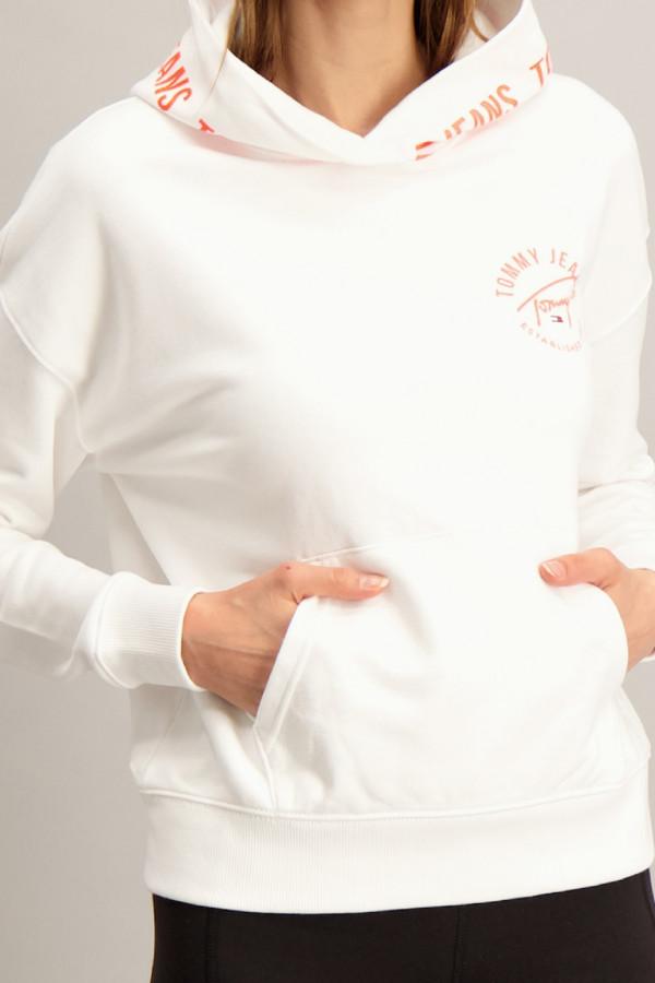 Sweat uni à capuche avec logo imprimé en fluo en coton Tommy Hilfiger