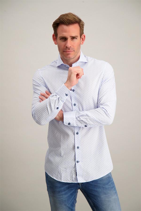 Chemise Regular à pois en coton manches longues R2 Amsterdam
