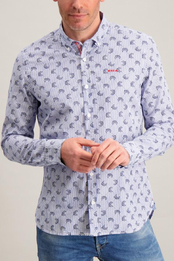 Chemise en coton imprimé rayures et motifs NZA