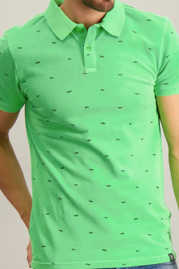 Polo imprimé en coton piqué avec boutons au col Petrol