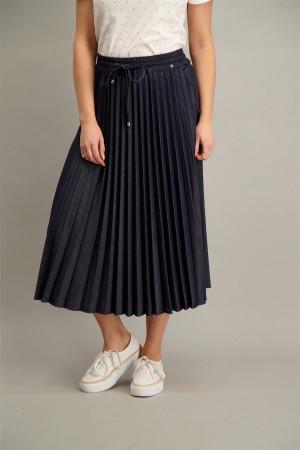 Jupe mi-longue plissée unie avec cordons à la taille IMANI Kocca