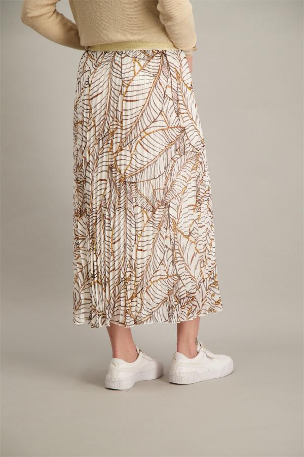 Jupe longue plissée imprimée en voile taille élastique Esqualo