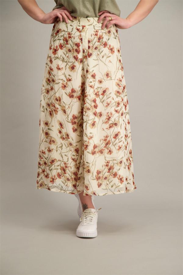 Jupe longue en voile fleurie avec boutons décoratifs Esqualo