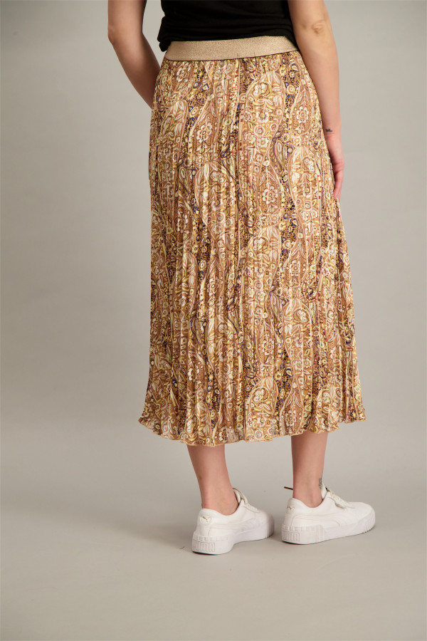 Jupe longue plissée en voile imprimé cachemire avec lurex Esqualo