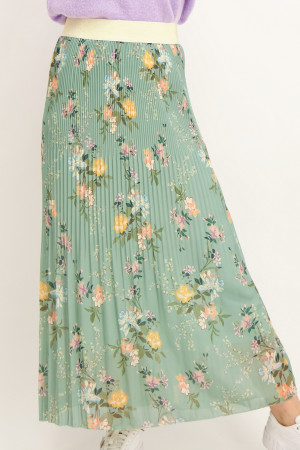Jupe longue plissée imprimée fleuri avec taille élastique Amélie & Amélie