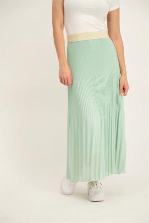 Jupe unie longue plissée taille élastique avec lurex Amélie & Amélie