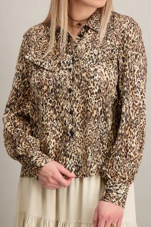 Chemisier imprimé léopard en matière satinée Kocca