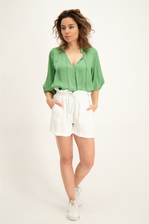Blouse unie satinée col V manches 3/4 See U Soon