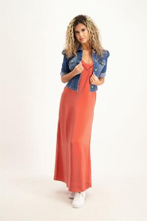 Veste en jean délavée manches 3/4 en coton stretch Kocca