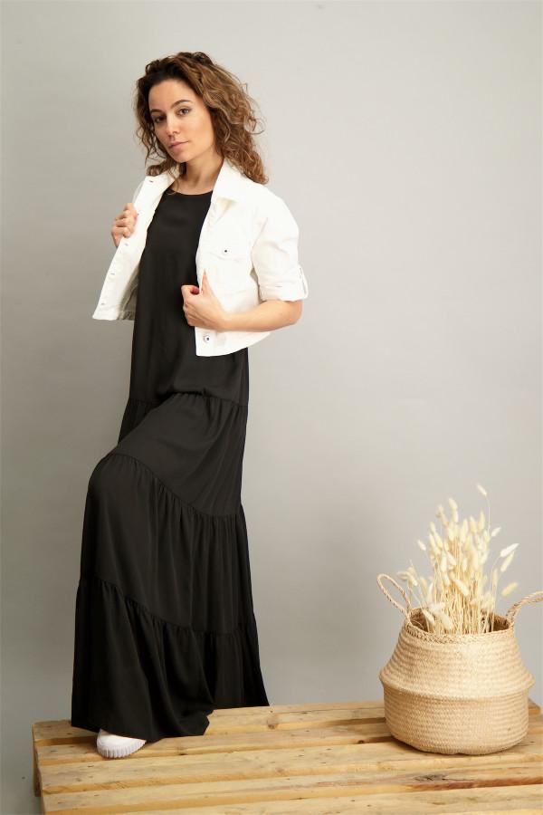 Veste en jean unie poches poitrine en coton stretch MILK Kocca