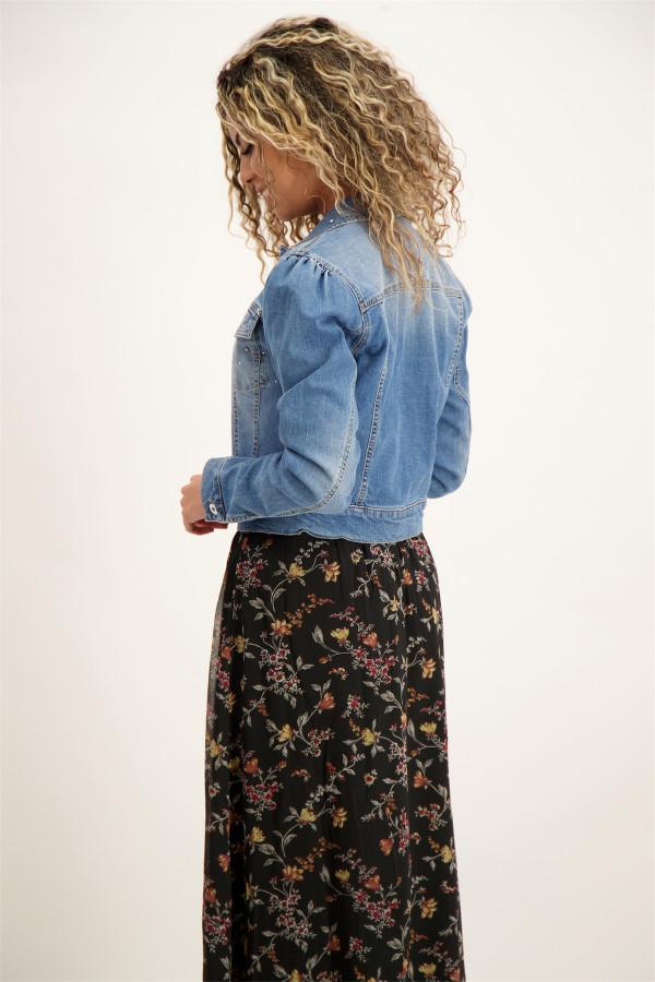 Veste en jean délavé avec strass sur le devant Kocca