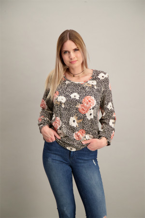 T-shirt imprimé léopard et fleuri base élastiquée Soyaconcept