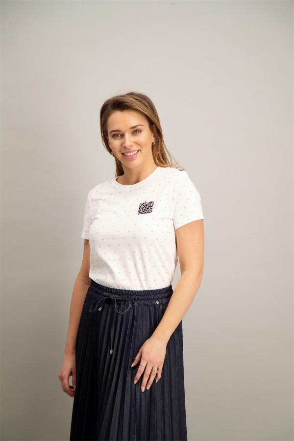 T-shirt uni avec broderie et pins sur le devant en coton KITA Only