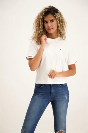 T-shirt uni court en coton avec logo à la poitrine Tommy Hilfiger